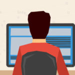 Man working on internet using computer and keyboard and drinking coffee. Vector concept work at home, freelance, efforts at work. Flat style. Web infographics. Back view